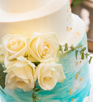 Blue blush wedding cake