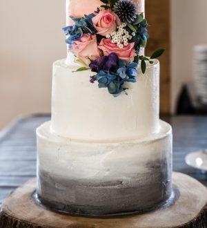 Grey and peach wedding cake