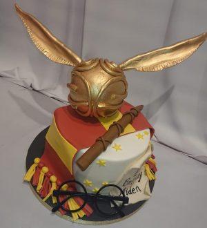 Harry potter taart met gouden Snaai
