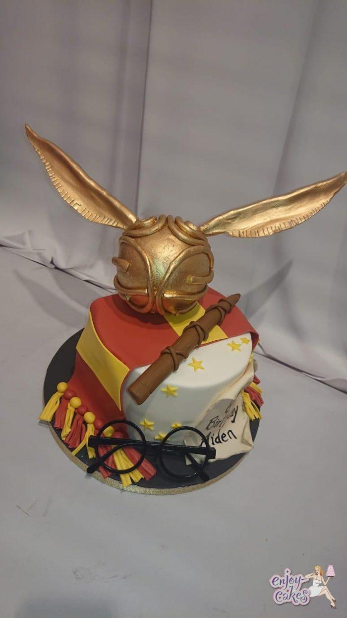Harry potter taart met gouden Snitch