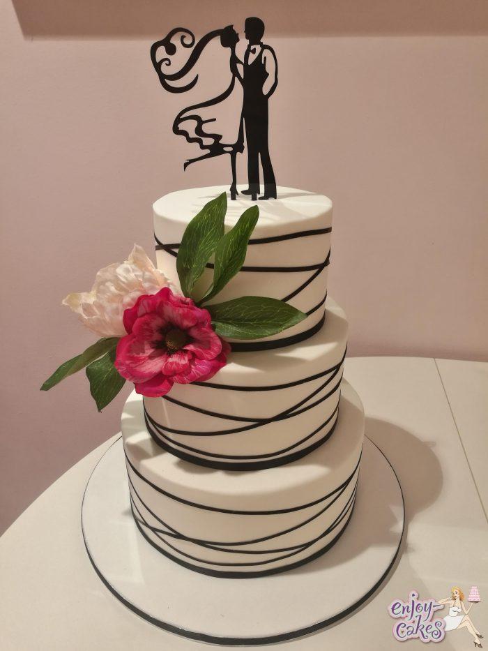 Black striped wedding cake