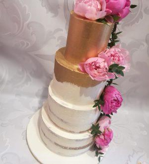 White gold semi-naked wedding cake