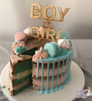 Semi-Naked Genderreveal taart