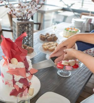 Chocoladewaterval bruidstaart