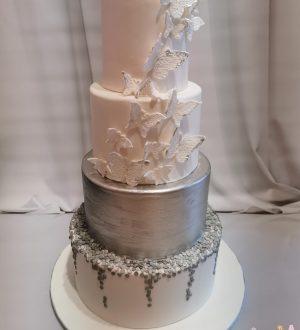 Zilveren bruidstaart