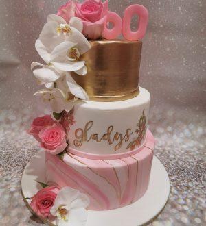 Pinkmarble gold ladycake