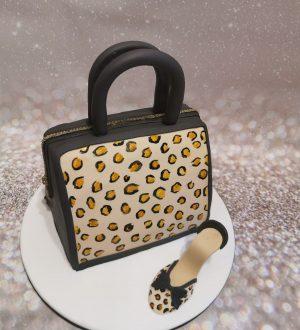 Dames tas taart panterprint met schoen