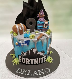 Fortnite taart met lama
