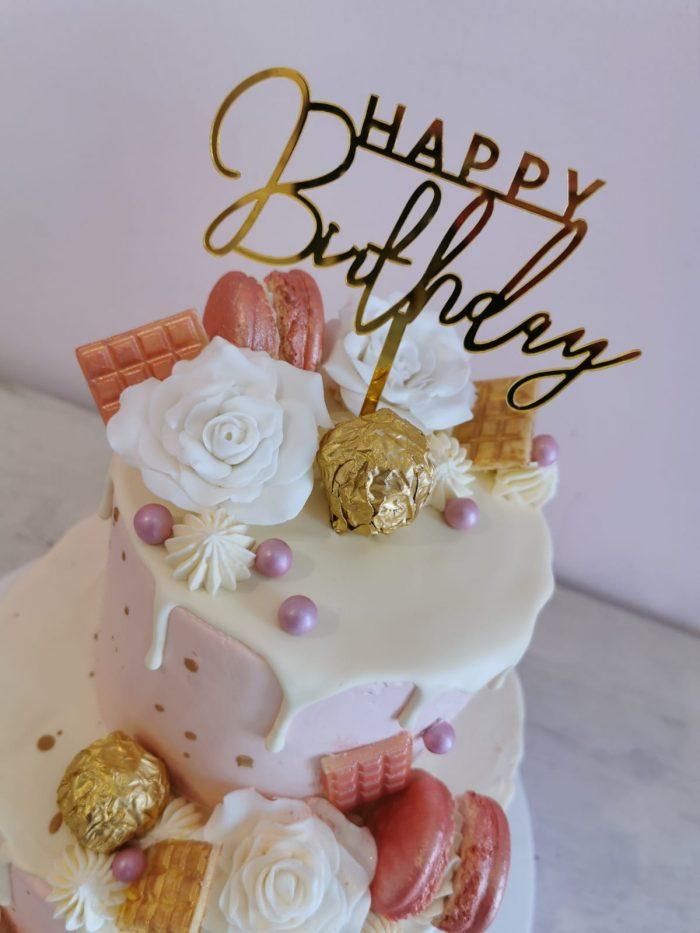 Pink en gold drip cake