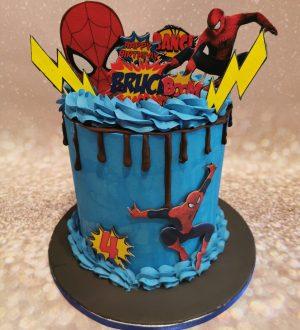 spiderman creme taart