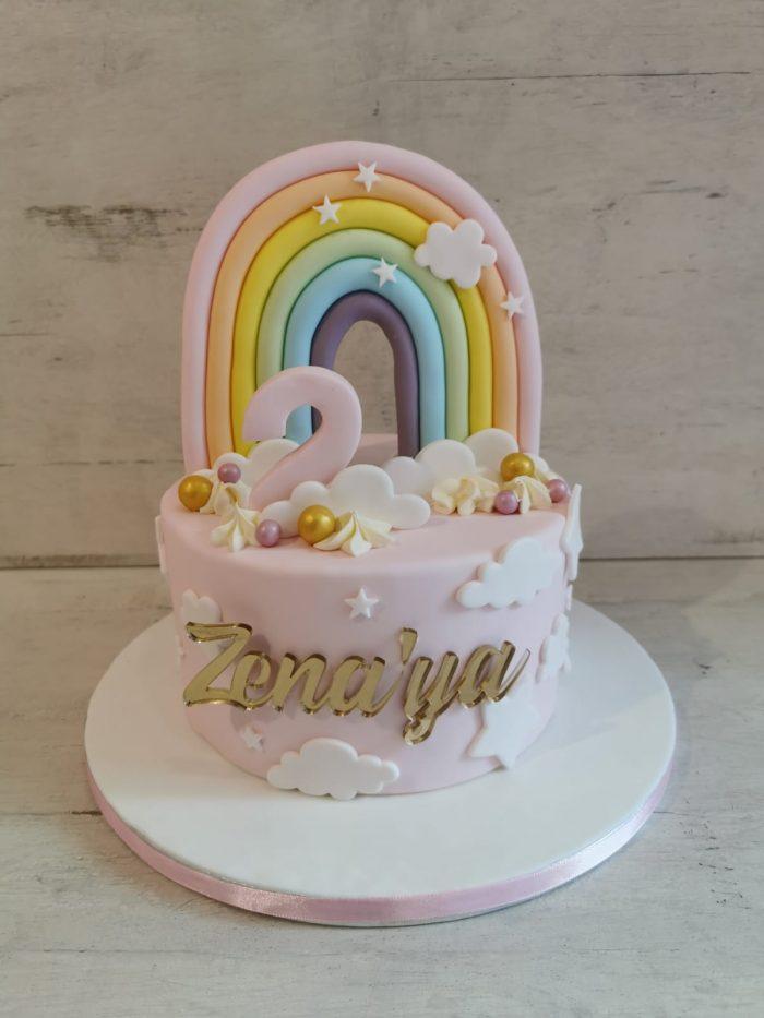 Regenboog pastel taart