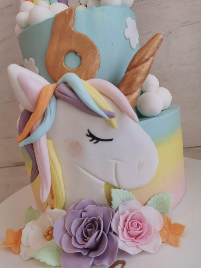 unicorn pastel regenboog taart