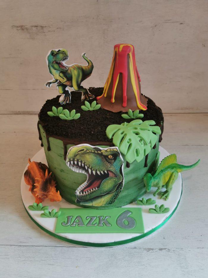 T-rex vulkaan taart