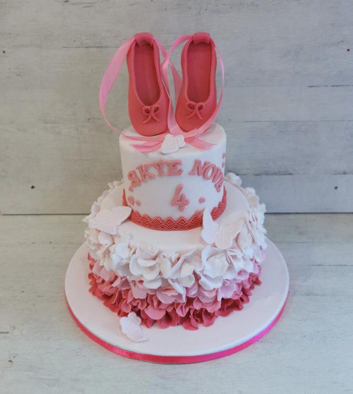 Ballerina taart fel roze