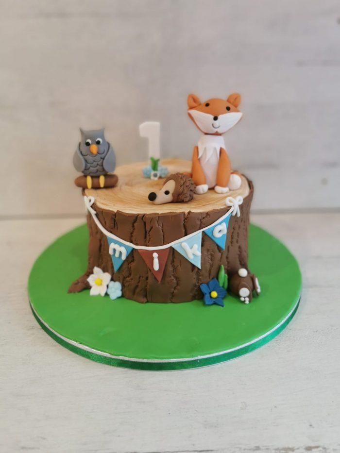 Bos dieren vriendjes taart