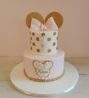 Gold Minnie mouse cake