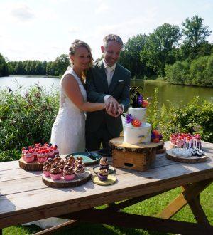 Sweettable met Bruidstaart en cupcakes