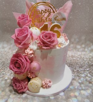 Sweet sixteen taart pink