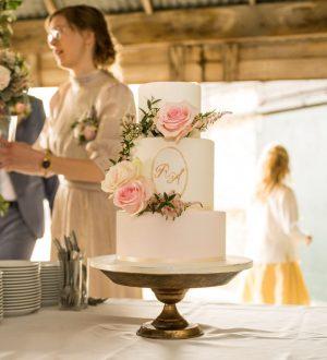 Romantische Bruidstaart met logo