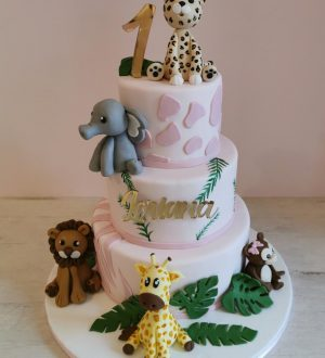 roze jungle taart